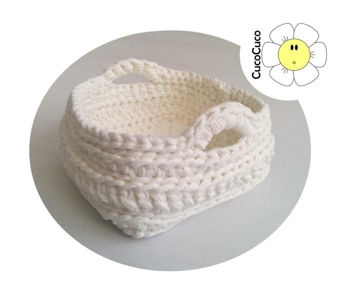 cesta trapillo cuadrada crochet ganchillo