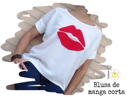 Blusa manga corta mujer