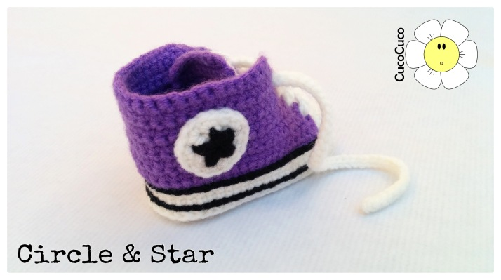 baby shoes crocheted all star circle and star