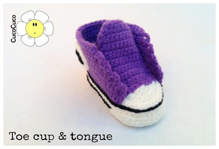 baby shoes crocheted all star toe cup and tongue