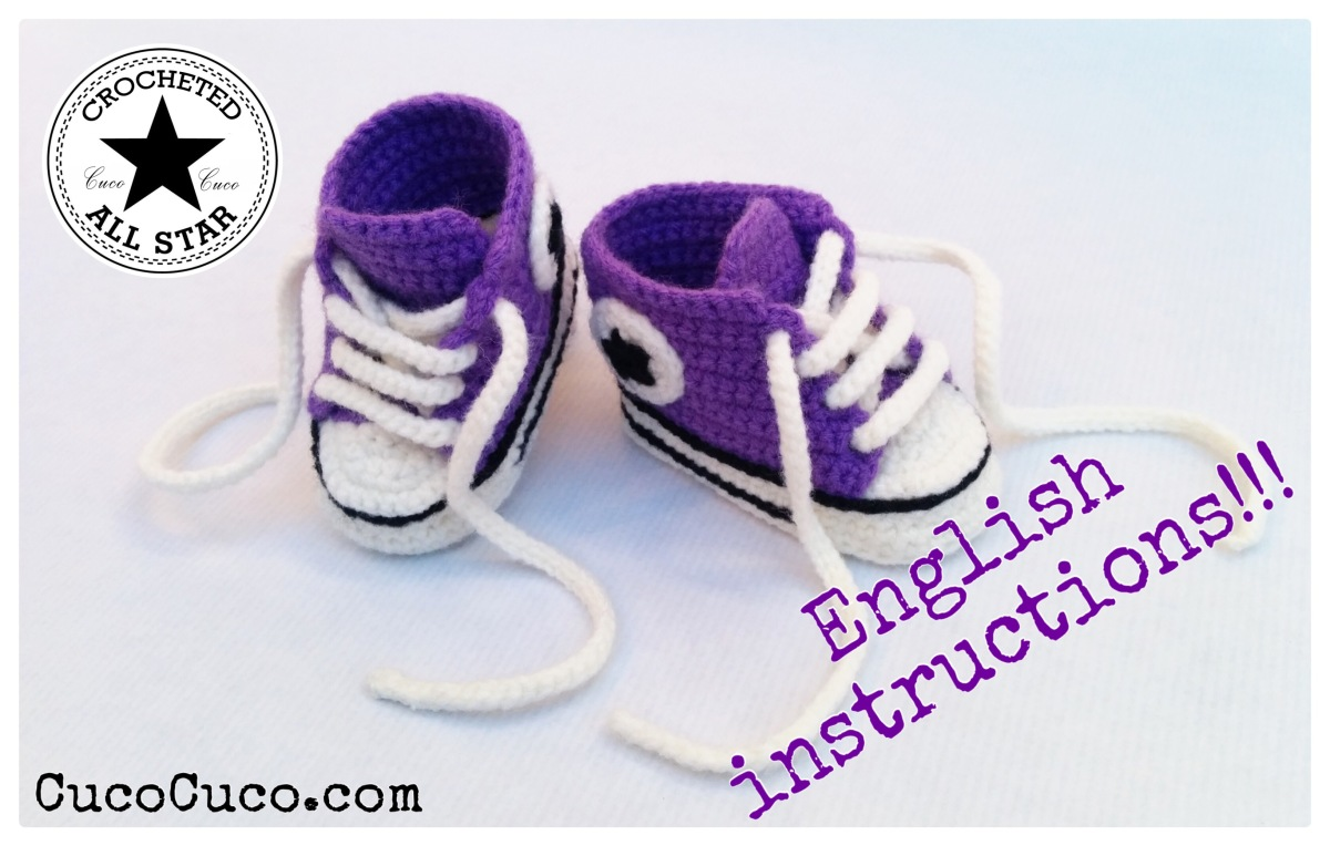 """BABY SHOES """"CROCHETED ALL STAR"""" (ENGLISH INSTRUCTIONS ..."""