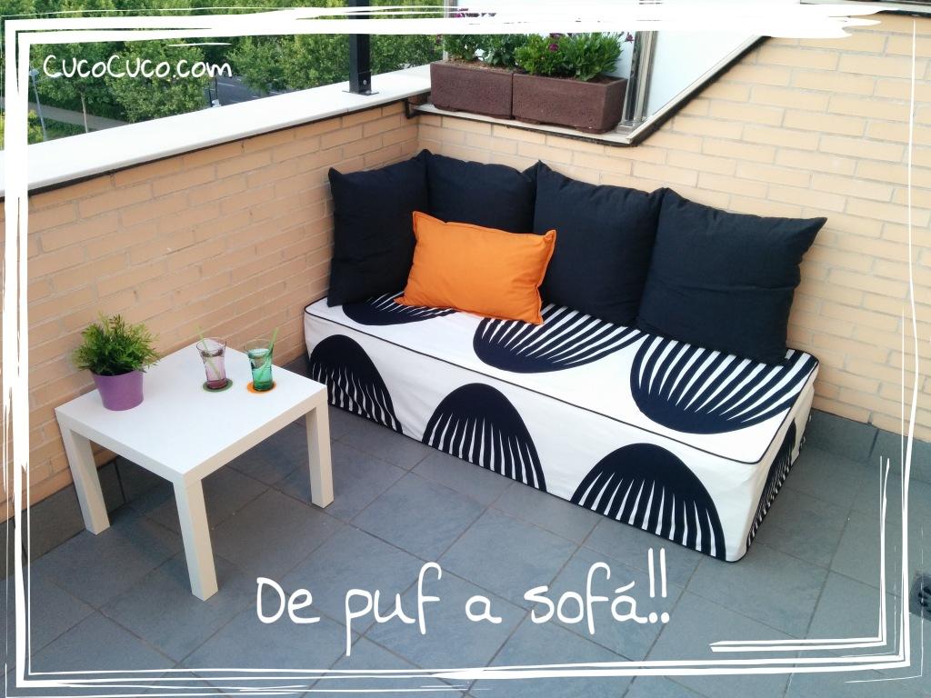 Hacer sofá para la terraza - Transformación de puf a sofá DIY